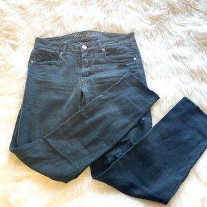 American Eagle Distressed Tomgirl Black Jeans 2